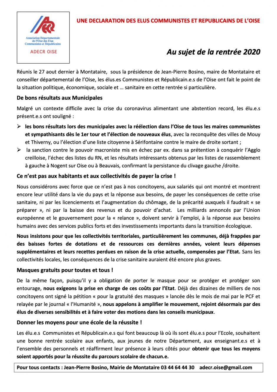Déclaration « Au sujet de la rentrée 2020 » - ADECR Oise, 2 septembre 2020