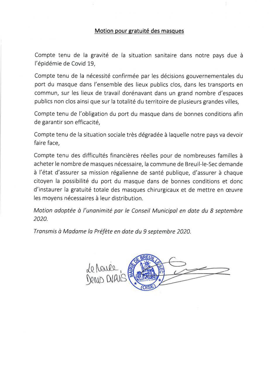 Motion pour la gratuité des masques, adoptée à l'unanimité par le Conseil municipal - Breuil-le-Sec, 8 septembre 2020