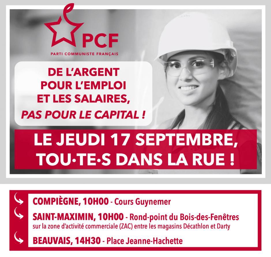 17 septembre, Beauvais, Compiègne, Creil - Journée nationale d'actions et de grèves