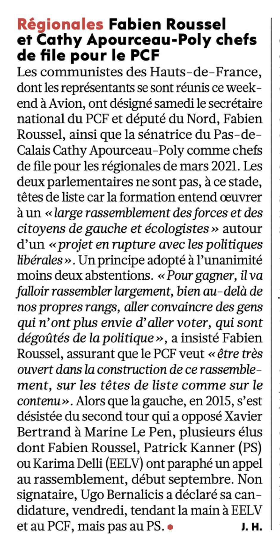 20200928-L'Huma-Hauts-de-France-Fabien Roussel et Cathy Apourceau-Poly chefs de file pour le PCF