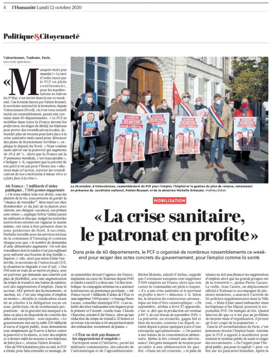 20201012-L'Huma-France-Mobilisation du PCF : « L'État ne doit pas financer les suppressions d'emplois »