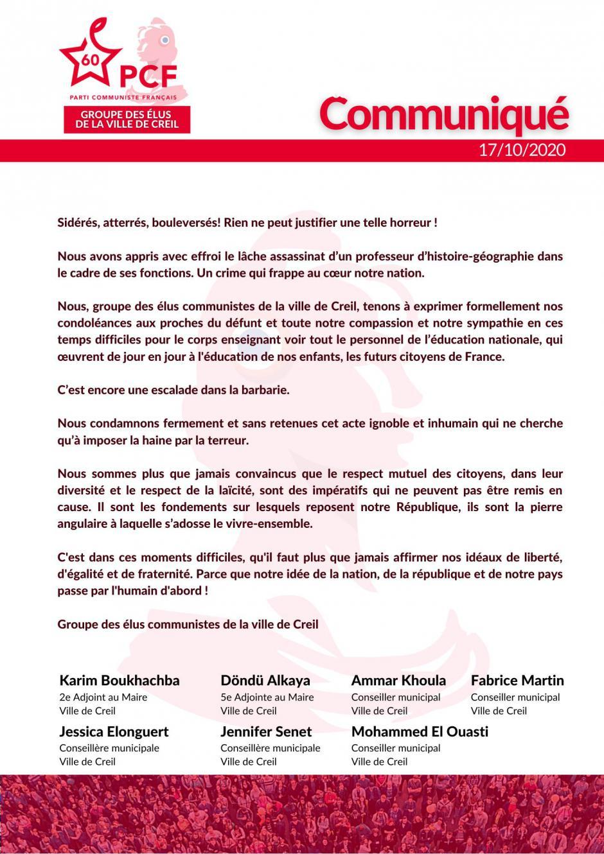 Communiqué du groupe des élu·e·s communistes de la ville de Creil suite à l'assassinat de Samuel Paty - 17 octobre 2020