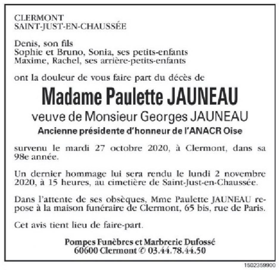 20201030-CP-Oise-Faire-part du décès de Paulette Jauneau