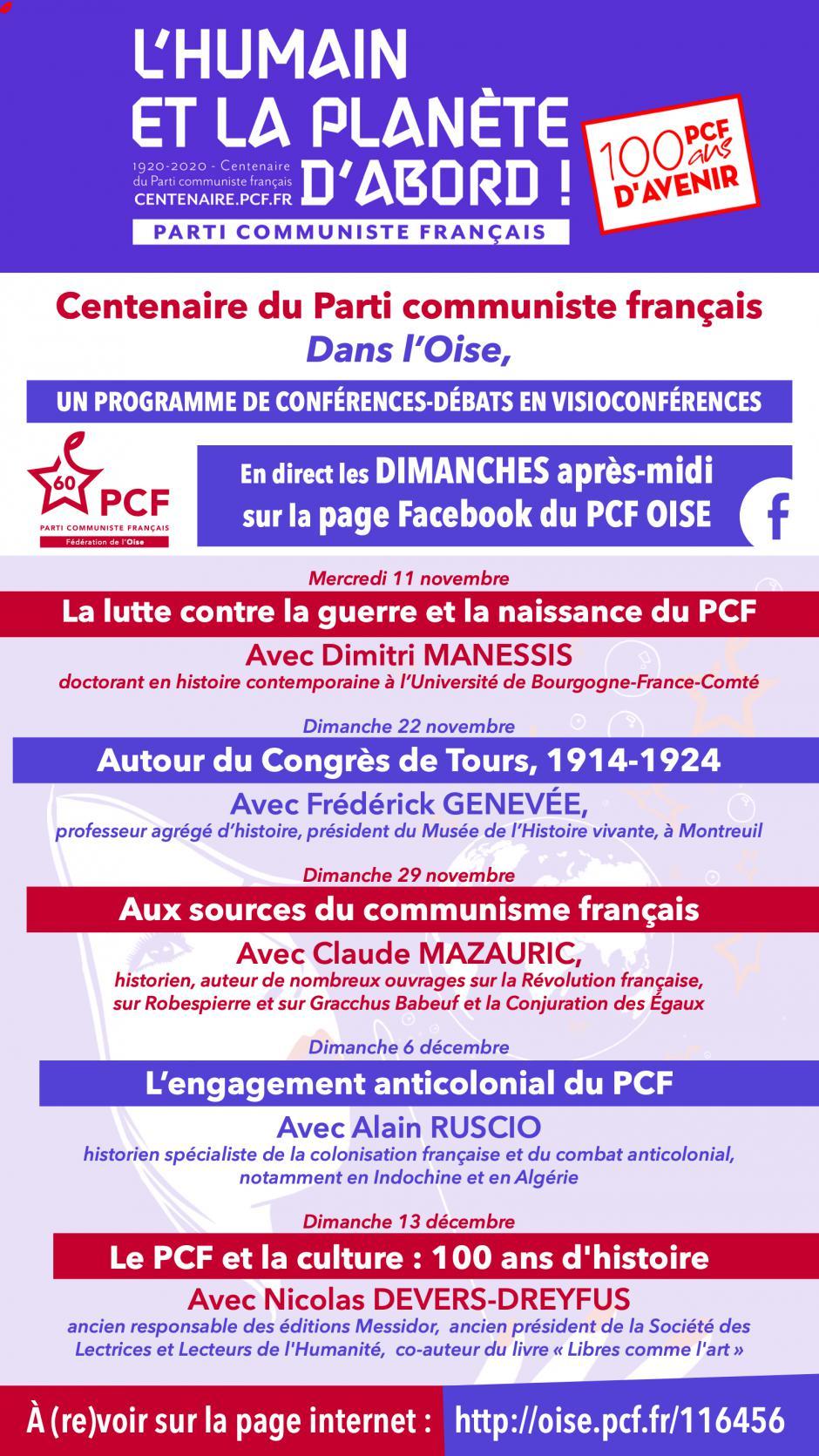 Centenaire du Parti communiste dans l'Oise : un programme de conférences-débats en visioconférences