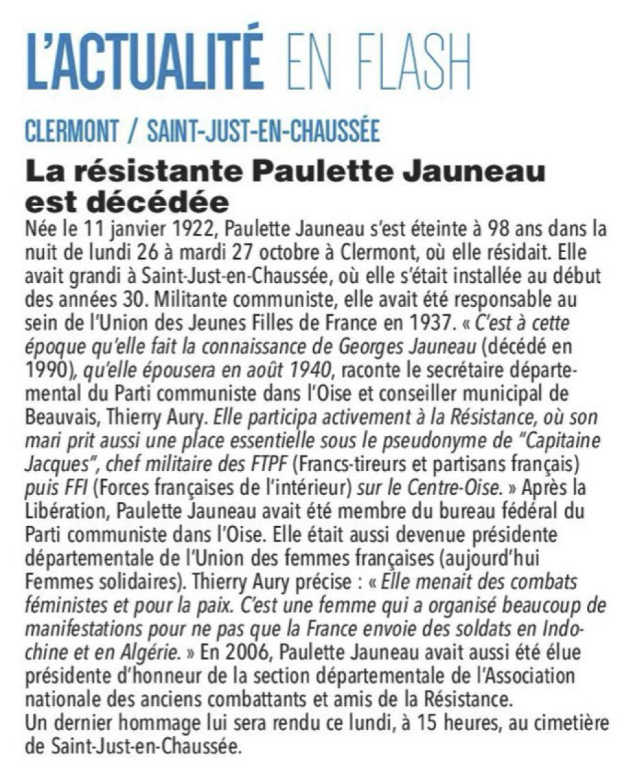 20201102-CP-Oise-La résistante Paulette Jauneau est décédée