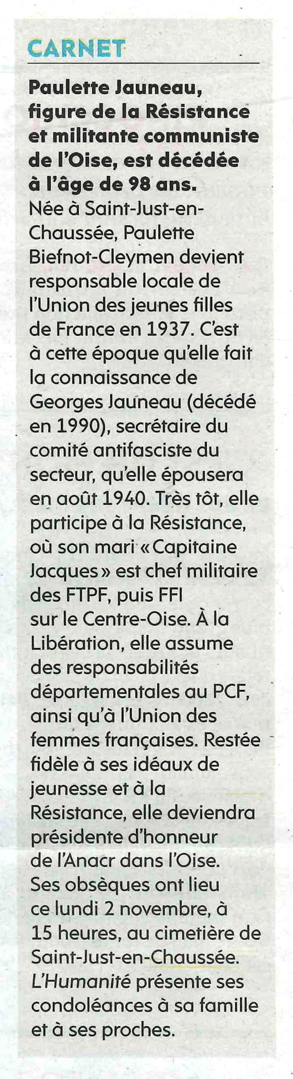 20201102-L'Huma-Oise-Paulette Jauneau, figure de la Résistance et militante communiste, est décédée à l'âge de 98 ans