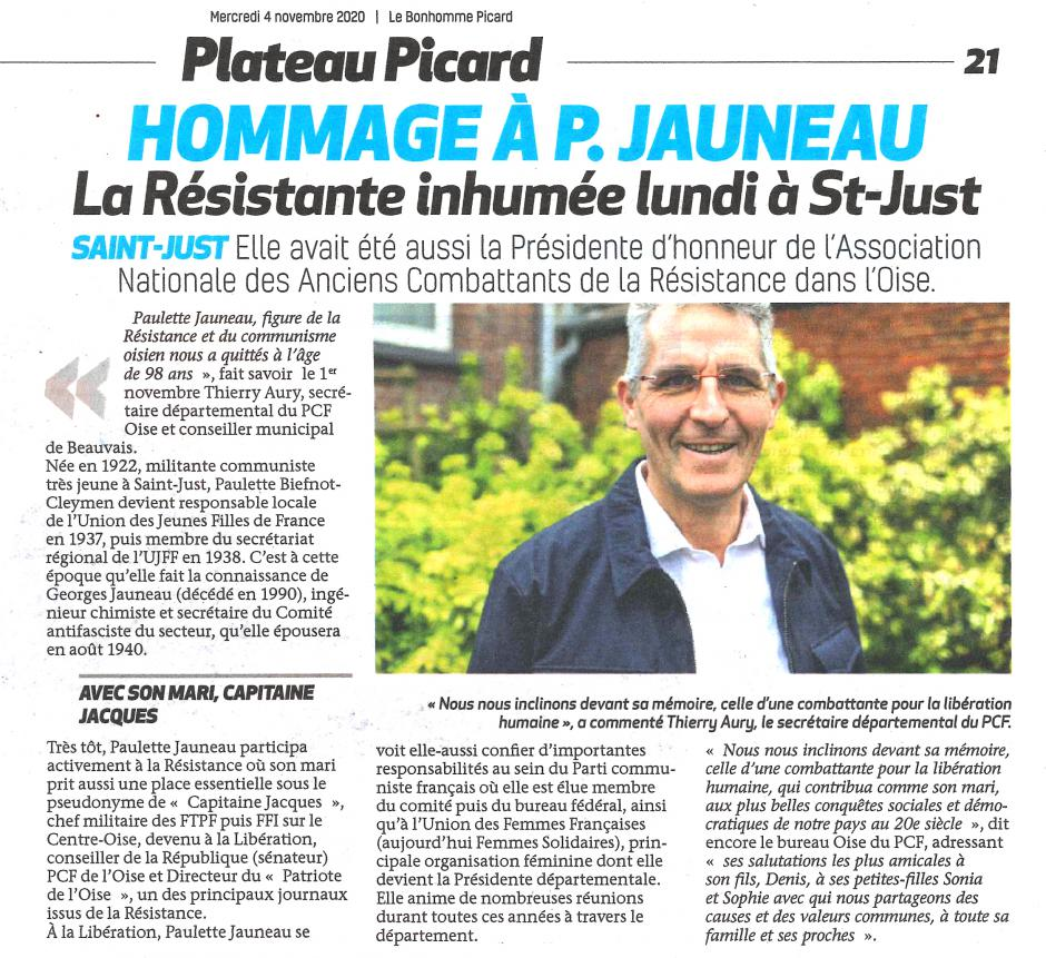 20201104-BonP-Oise-Hommage à Paulette Jauneau, la Résistante inhumée à Saint-Just