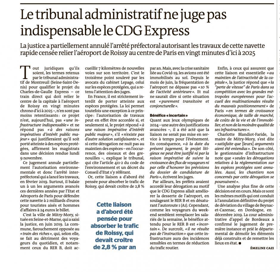 20201111-LeM-Île-de-France-Oise-Le tribunal administratif ne juge pas indispensable le CDG Express
