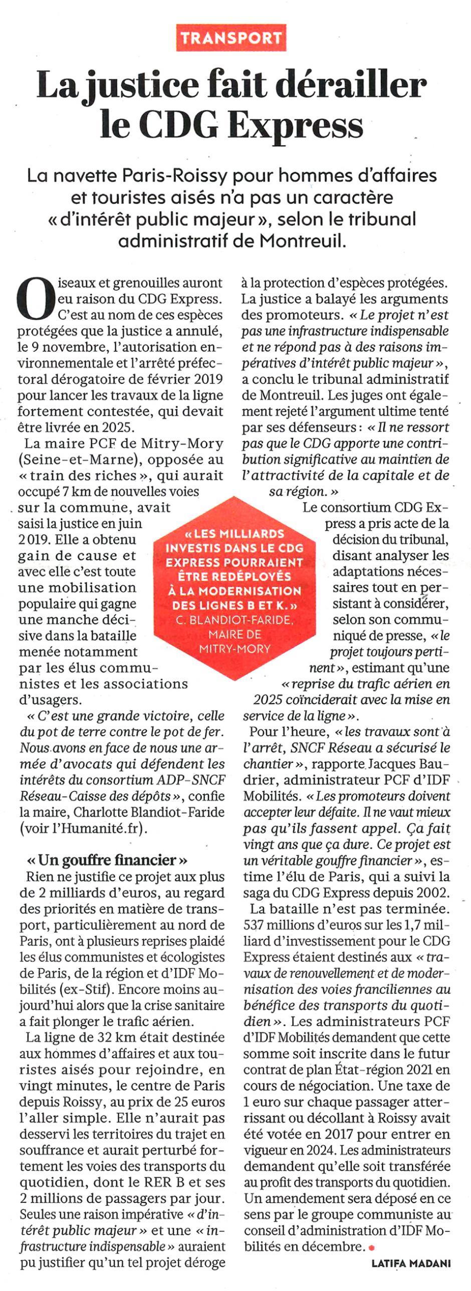20201112-L'Huma-Île-de-France-La justice fait dérailler le CDG Express