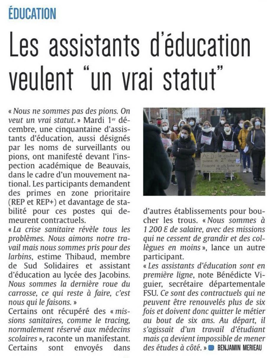 20201202-CP-Beauvais-Les assistants d'éducation veulent « un vrai statut »