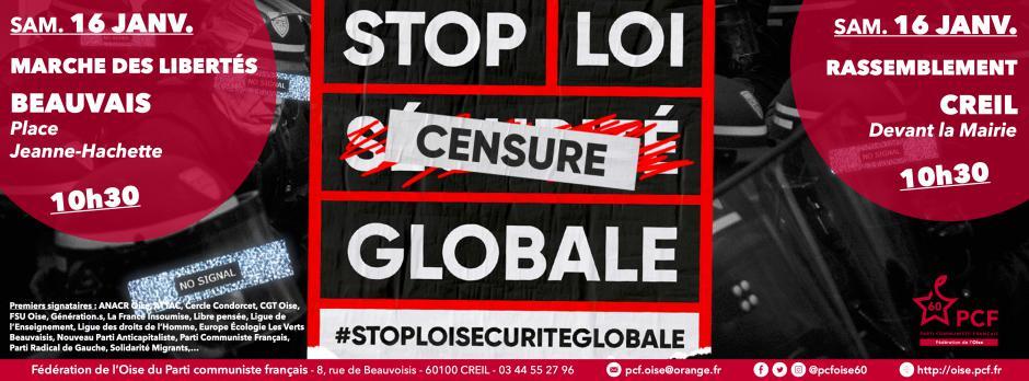 16 janvier, Beauvais & Creil - Collectif Oise de la Liberté d'expression-Mobilisations « Stop loi