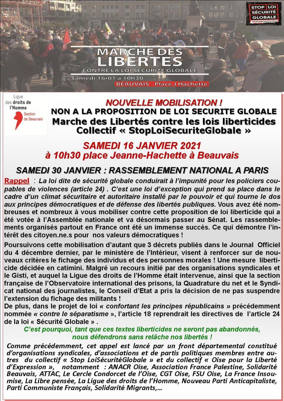 Tract « Non à la proposition de loi Sécurité globale » - Collectif StopLoiSecuriteGlobale, 16 janvier 2021
