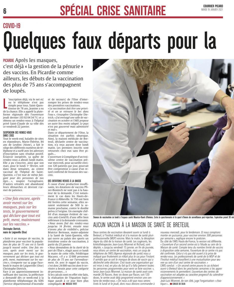 Le Courrier picard du 19 janvier 2021 : suspension des rendez-vous dans l'Oise ; aucun vaccin à la maison de santé de Breteuil…