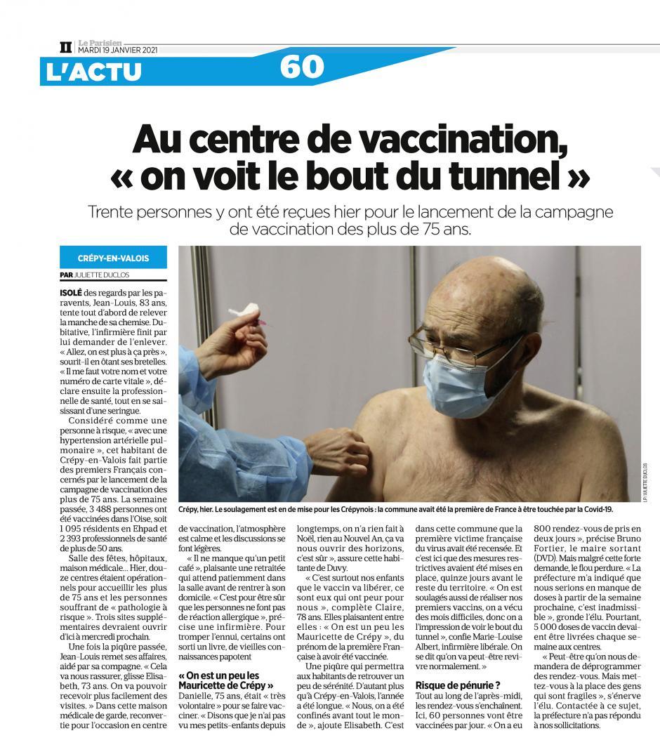 Le Parisien du 19 janvier 2021 : « risque de pénurie ? »