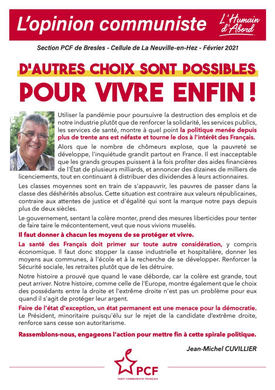 L'Opinion communiste - Cellule PCF de La Neuville-en-Hez, février 2021