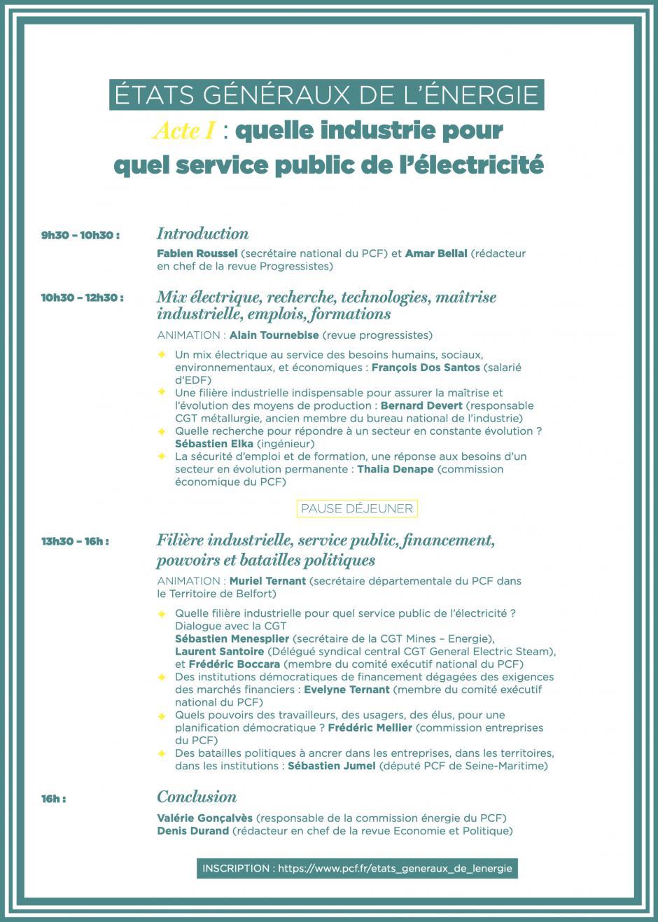 États généraux de l'Énergie - Acte I : « Quelle industrie pour quel service public de l'énergie ? »-Programme