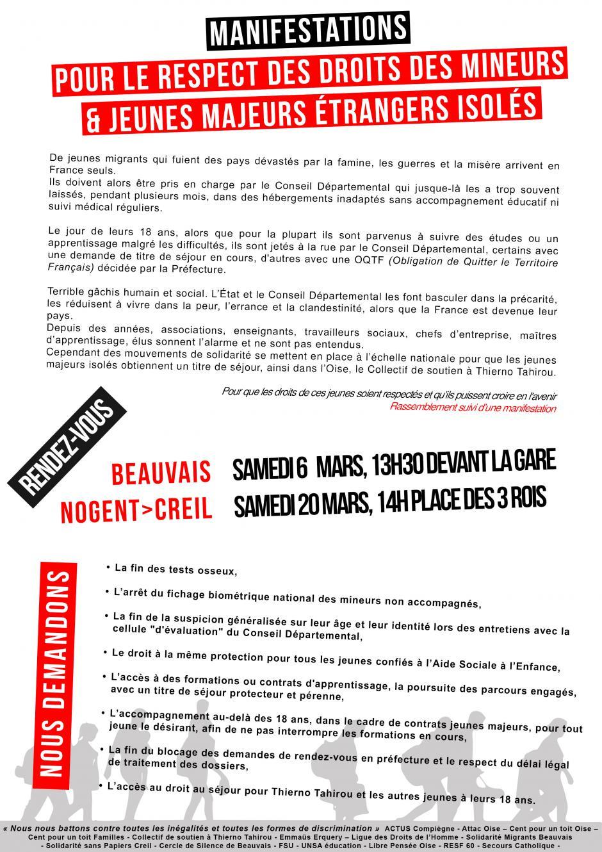 6 mars, Beauvais - Manifestation « Pour le respect des droits des mineurs et des jeunes majeurs étrangers isolés »