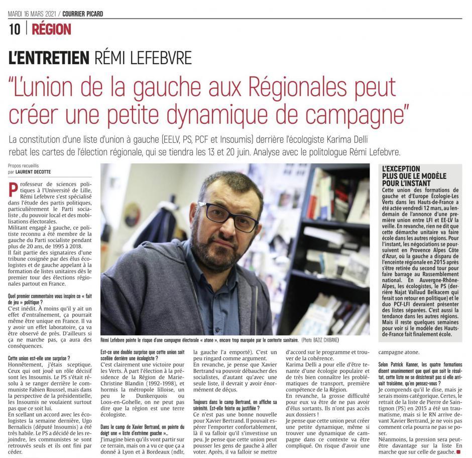 20210316-CP-Hauts-de-France-R2021-Rémy Lefebvre : « L'union de la gauche aux régionales peut créer une petite dynamique de campagne »