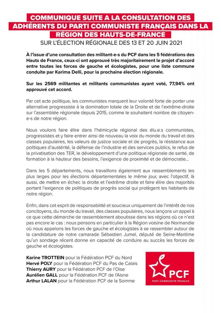 Communiqué suite à la consultation des adhérent·e·s du Parti communiste français dans la région des Hauts-de-France - 25 mars 2021