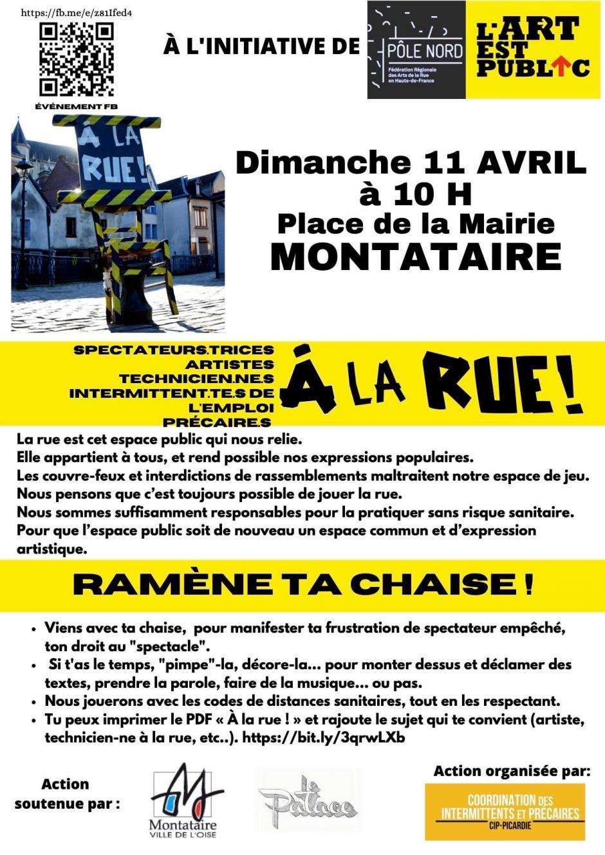 Manifestation interdite ! - 11 avril, Montataire - CIP Picardie-Oise-À la rue : l'art est public, ramène ta chaise !