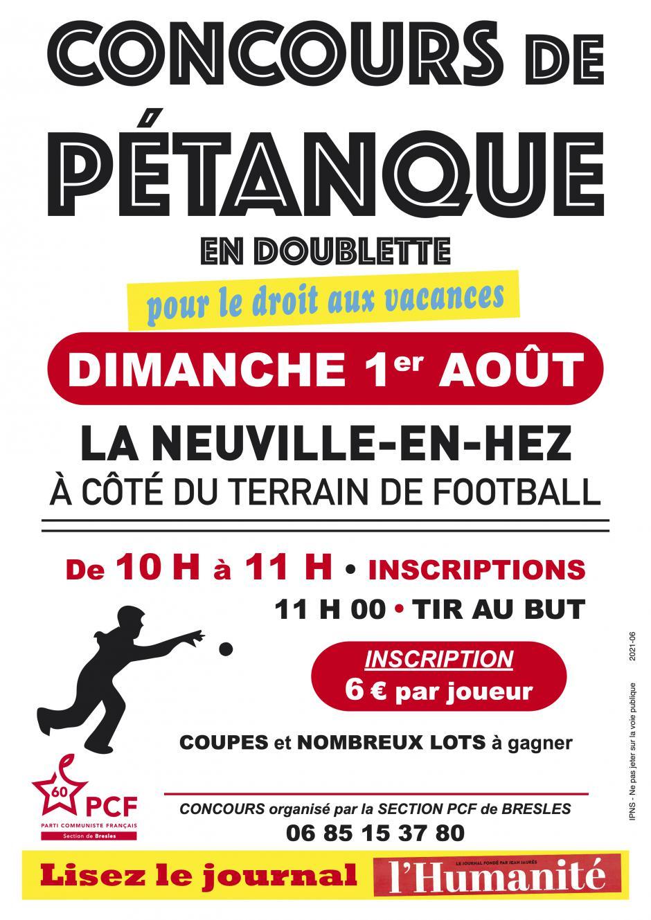 1er août, La Neuville-en-Hez- Concours de pétanque de la section PCF de Bresles