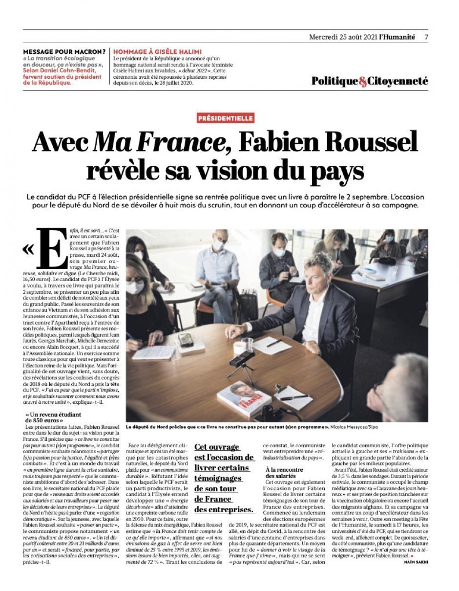 20210825-L'Huma-Présidentielle. Avec Ma France, Fabien Roussel révèle sa vision du pays