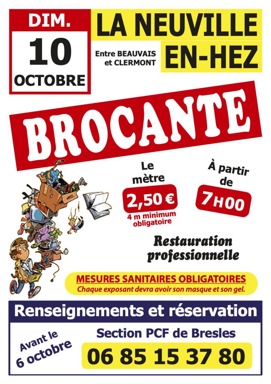 Flyer « Brocante à La Neuville-en-Hez » - PCF Bresles, 10 octobre 2021