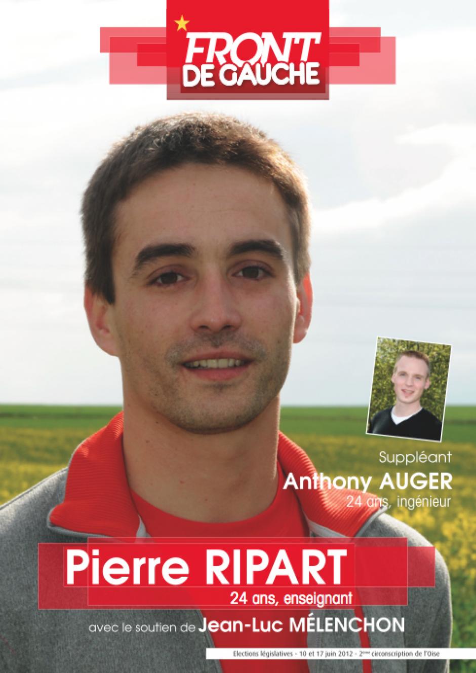 Affiche pour la campagne législative de Pierre Ripart et Anthony Auger - mai 2012
