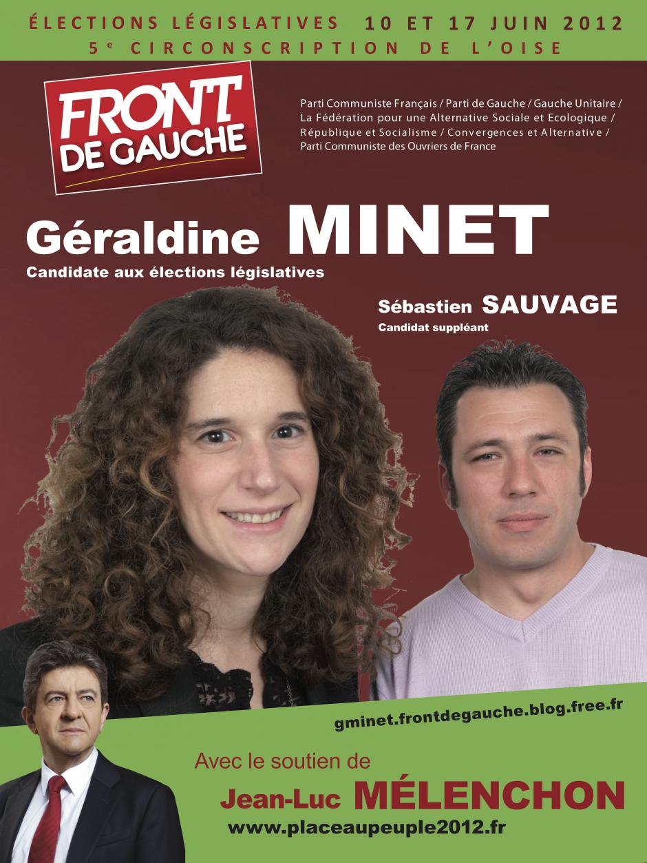 Affiche pour la campagne législative de Géraldine Minet et Sébastien Sauvage - mai 2012