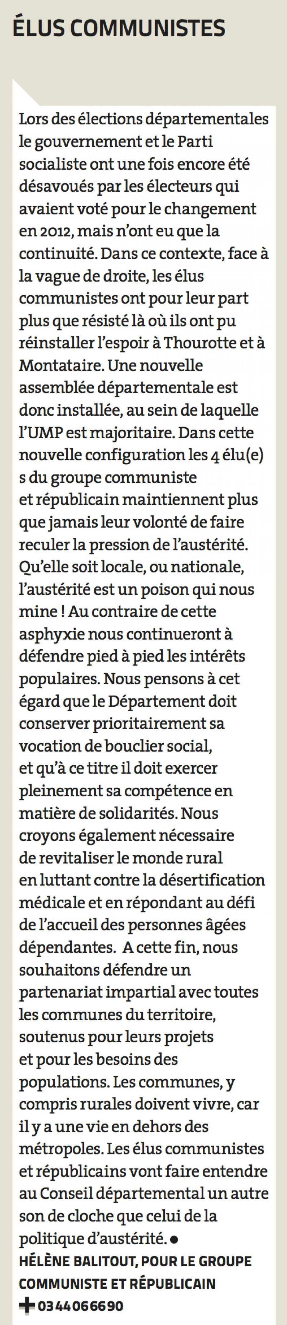 Expression politique des élus du groupe Communiste et Républicain - Magazine 60, juin 2015
