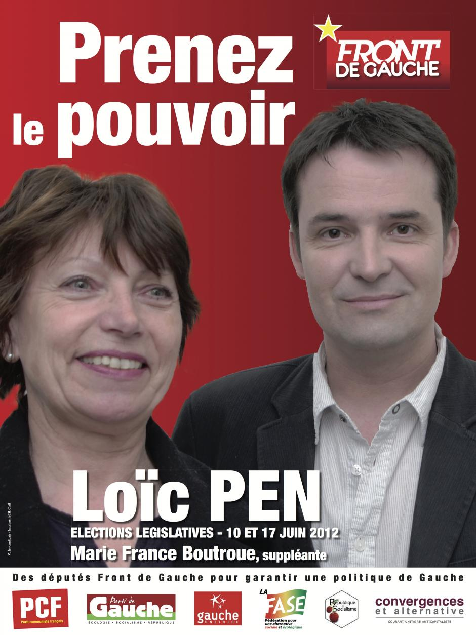 Affiche pour la campagne législative de Loïc Pen et Marie-France Boutroue - avril 2012