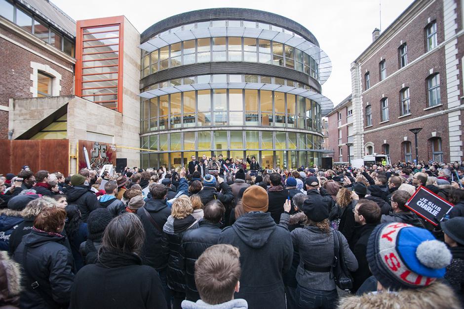 Foule à la marche pour la liberté d'expression ! - Beauvais, 10 janvier 2015