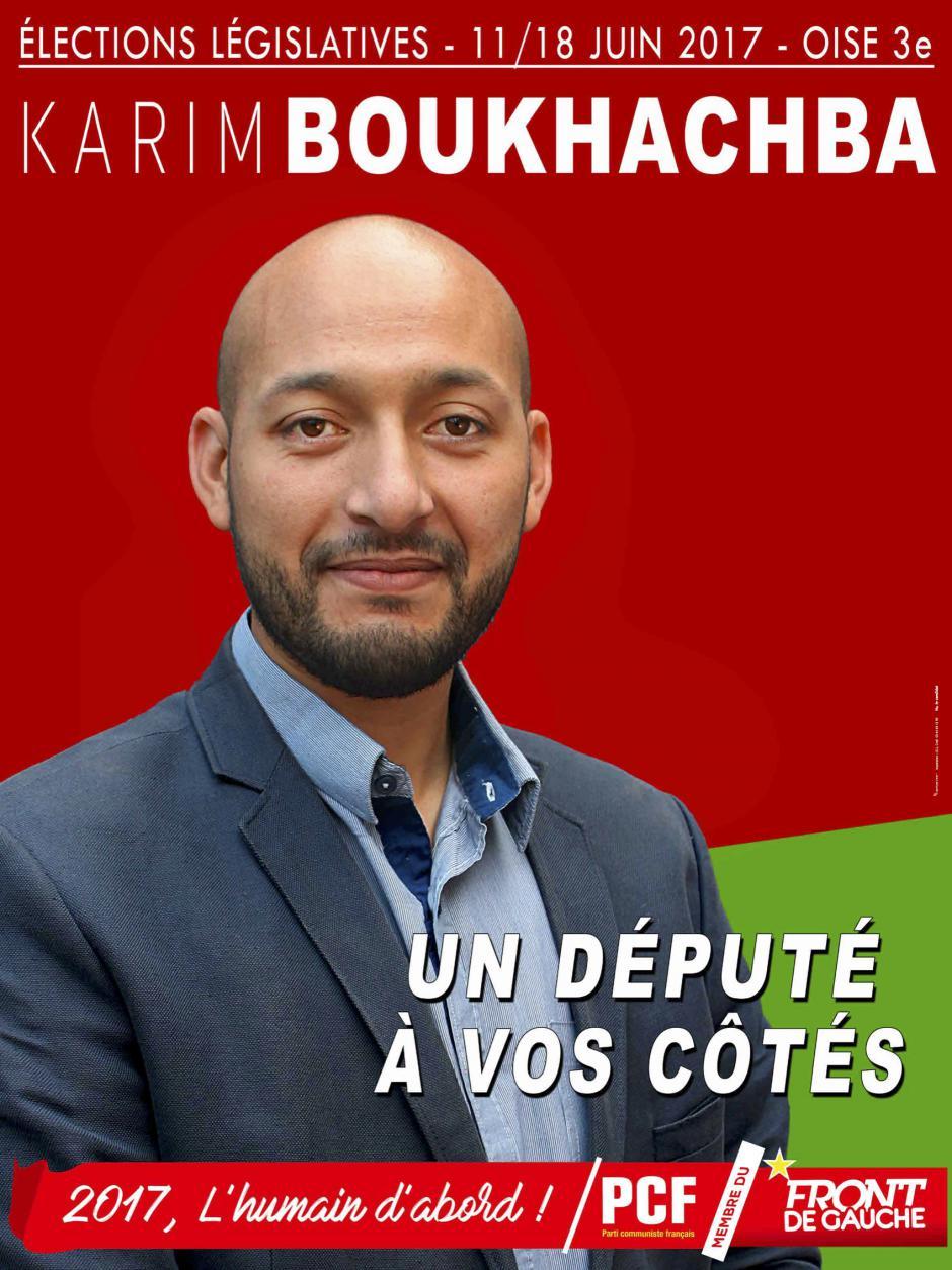 Affiche de campagne de Karim Boukhachba aux Législatives 2017 - 3e circonscription de l'Oise, 6 mars 2017