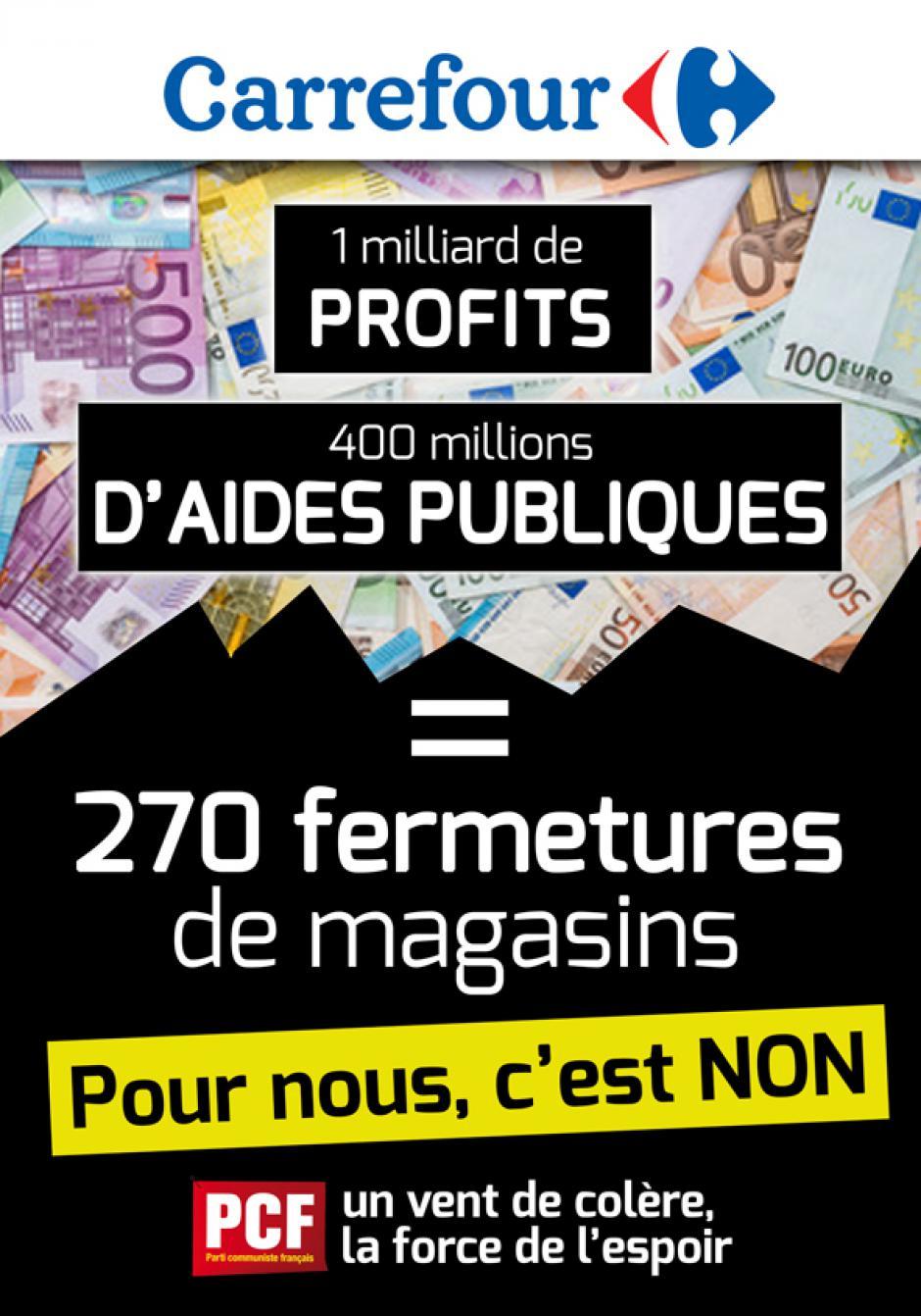 Affiche « Carrefour : 1 milliard de profits, 400 millions d'aides publiques = 270 fermetures de magasins. Pour nous, c'est non » - Section PCF de Dieppe et son agglo, février 2018