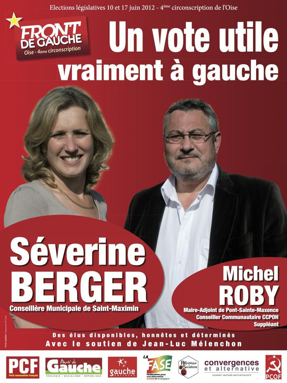 Affiche pour la campagne législative de Séverine Berger et Michel Roby - mai 2012