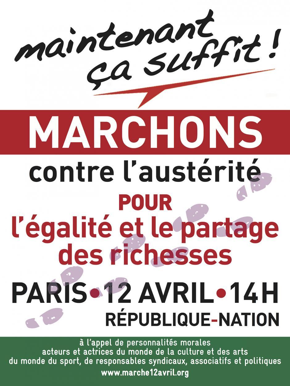 12 avril, Paris - Marche unitaire contre l'austérité, pour l'égalité et le partage des richesses