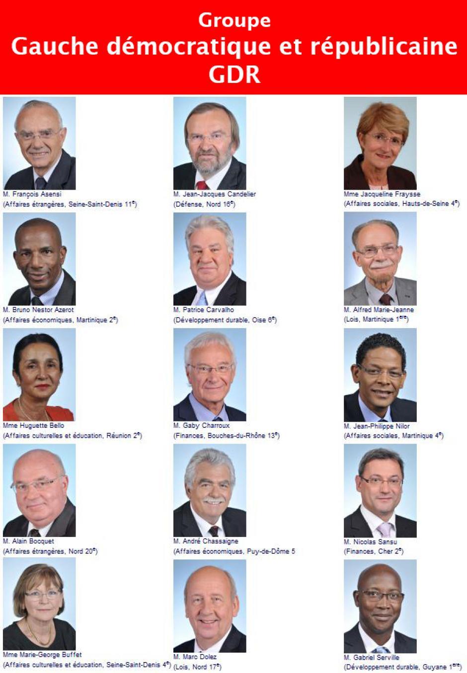 Le groupe Gauche démocratique et républicaine, Assemblée nationale-Législature 2012-2017