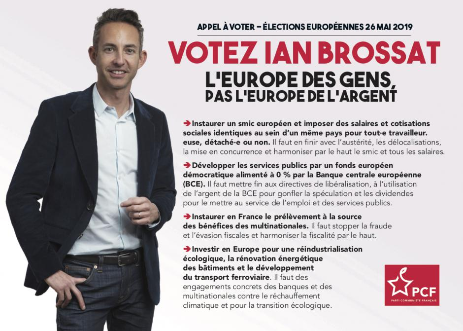 Élections européennes : je vote Ian Brossat « l'Europe des gens, pas l'Europe de l'argent ! »