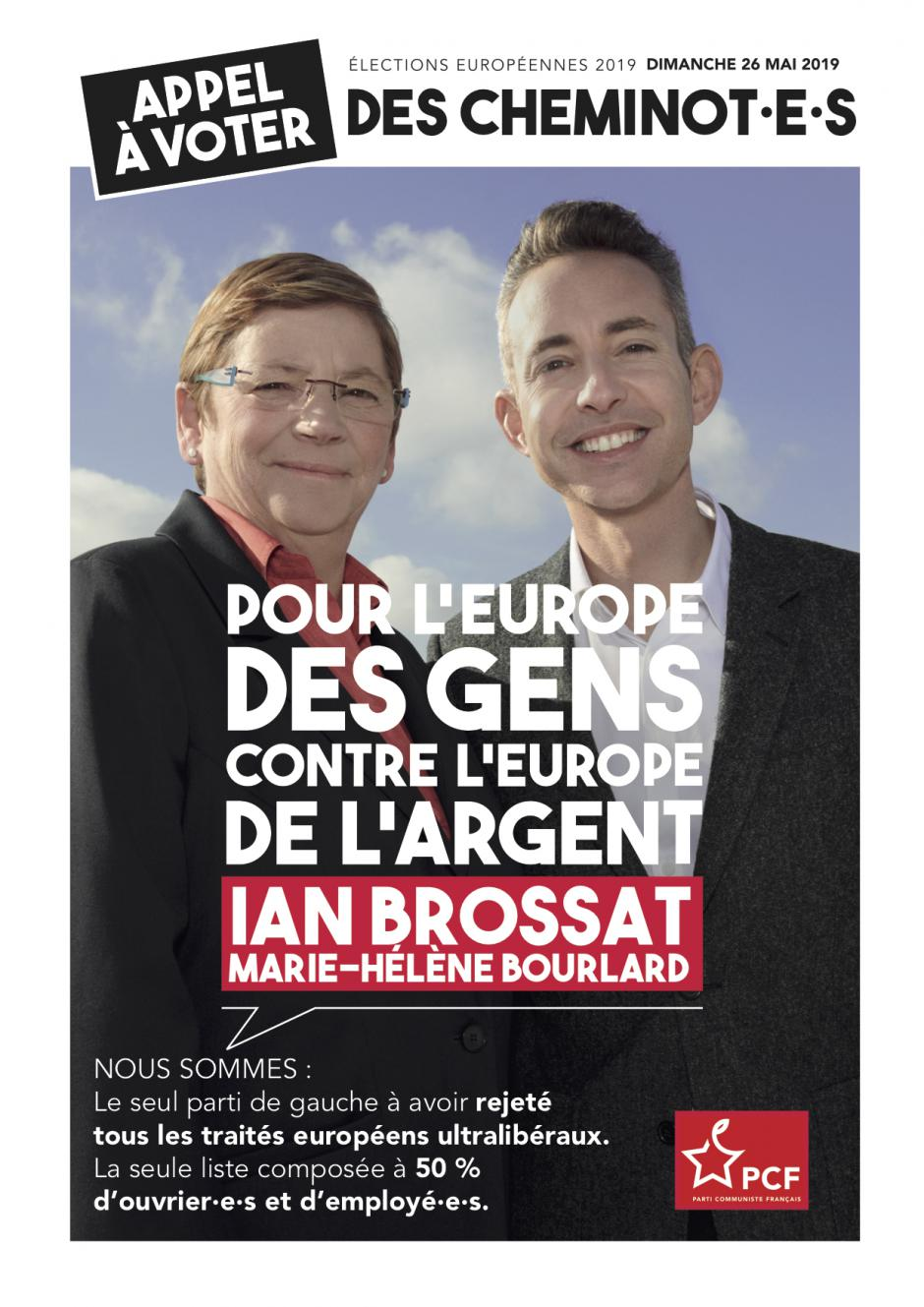 Élections européennes : 22 cheminot·e·s de l'Oise appellent à voter Ian Brossat et Marie-Hélène Bourlard le 26 mai