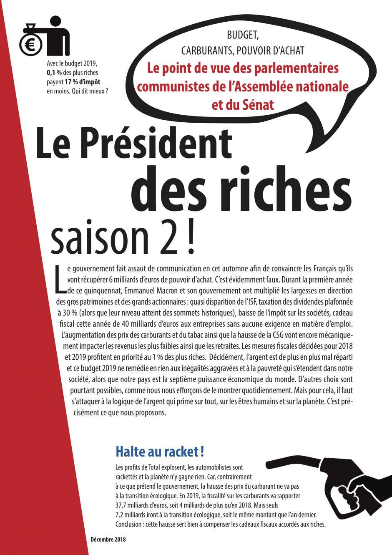 4 pages des parlementaires communistes « Le Président des riches, saison 2 ! » - Décembre 2018