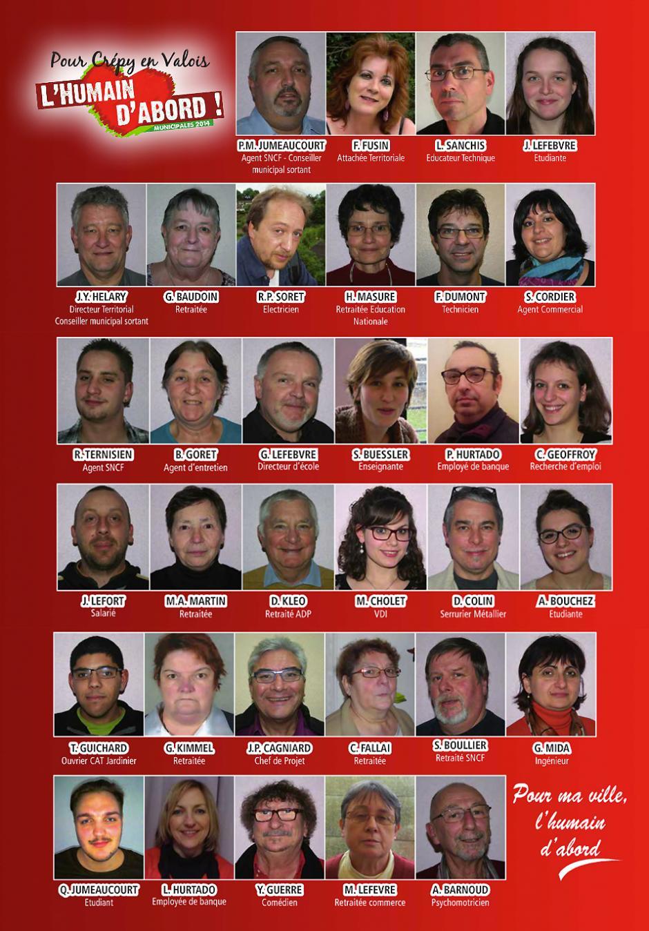 Élections municipales 2014 • Crépy-en-Valois • Liste « L'humain d'abord »-Trombinoscope