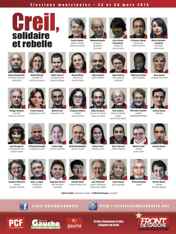 Élections municipales 2014 • Creil • Liste « Creil, solidaire et rebelle »-Trombinoscope