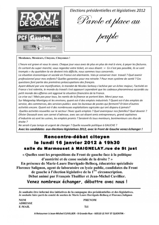 16 janvier, Maignelay - Assemblée citoyenne du Front de gauche sur la politique d'austérité de la droite
