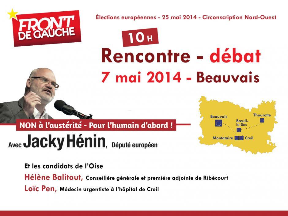 Européennes 2014 : Thierry Aury introduit la rencontre-débat avec Jacky Hénin - Beauvais, 7 mai 2014