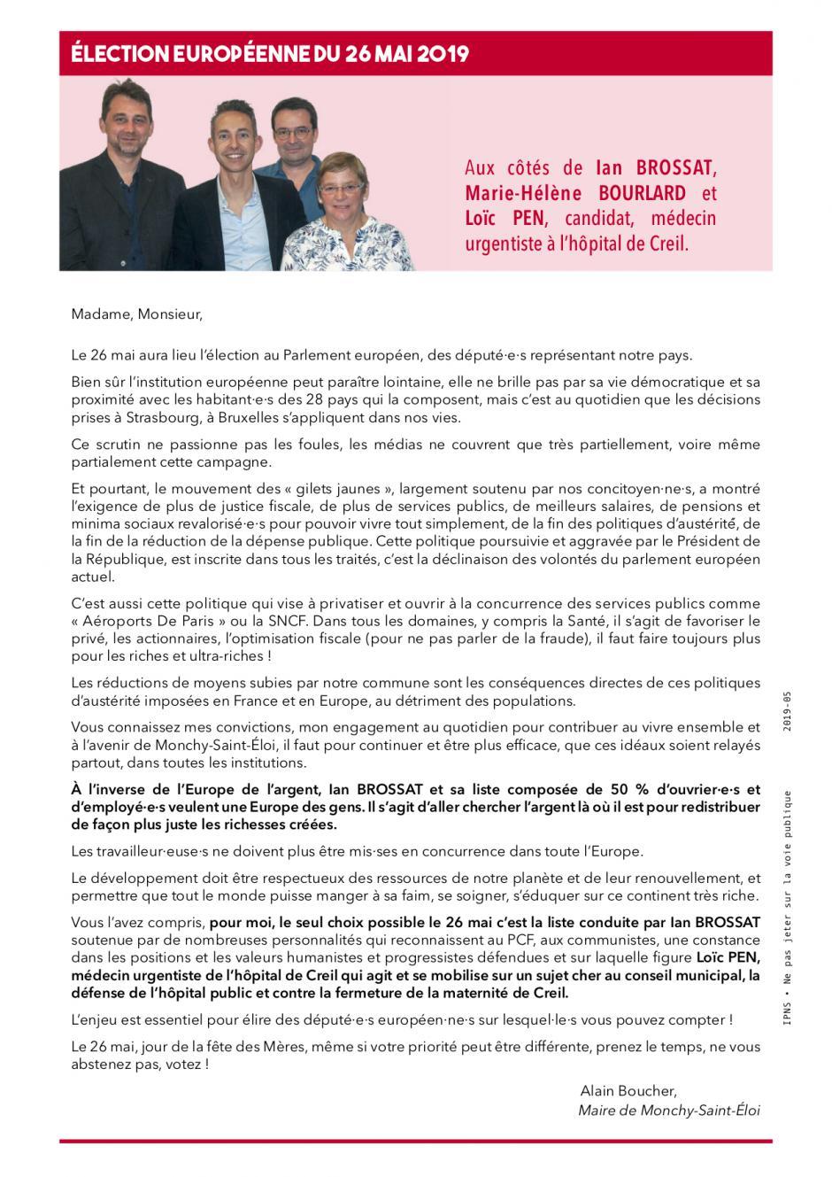 Appel à voter d'Alain Boucher, maire de Monchy-Saint-Éloi, pour la liste conduite par Ian Brossat - Élections européennes, 26 mai 2019