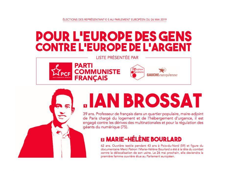 Élections européennes : le 26 mai, votons Ian Brossat et Marie-Hélène Bourlard !