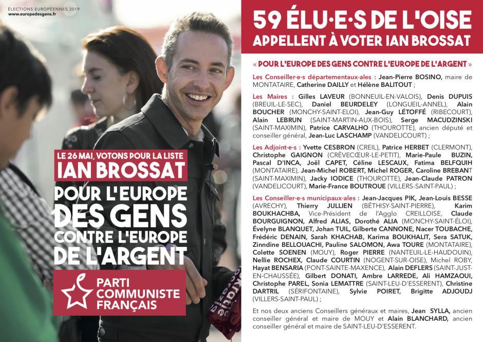 Élections européennes : 59 élu·e·s de l'Oise appellent à voter Ian Brossat et Marie-Hélène Bourlard le 26 mai