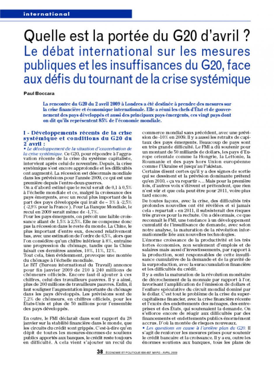 Quelle est la portée du G20 d avril   Le débat international sur les mesures 68574aa6ee8