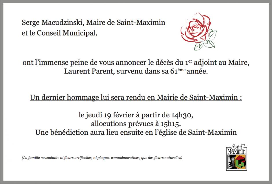 19 février, Saint-Maximin - Hommage à Laurent Parent