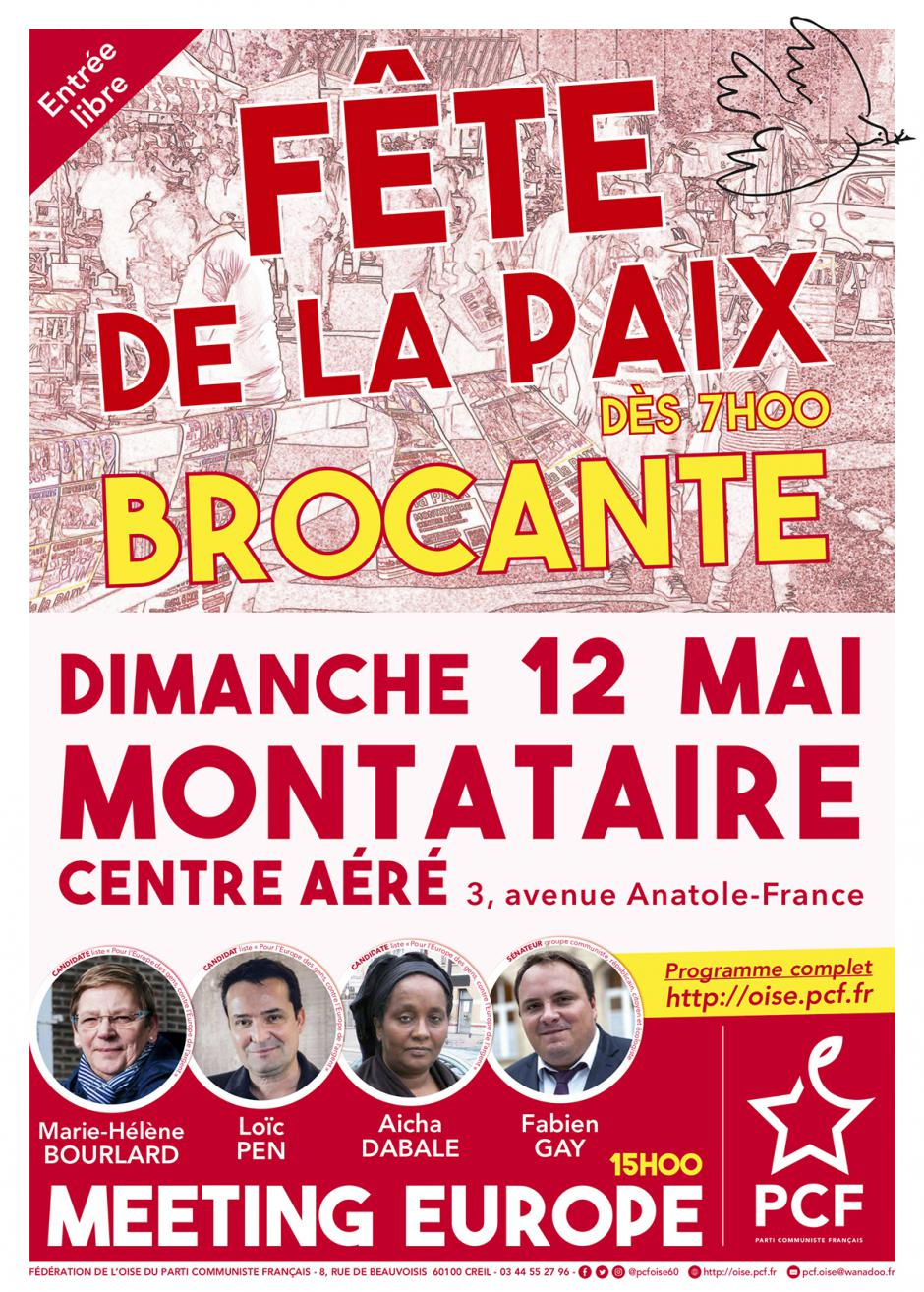 Affiche « Fête de la Paix » - PCF Oise, 12 mai 2019